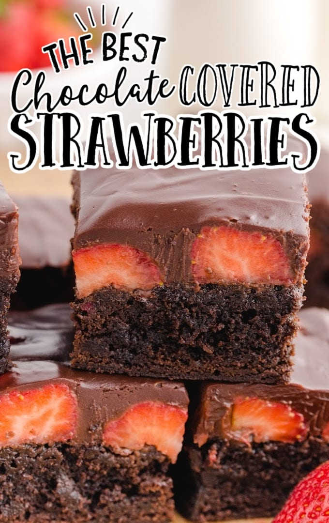 close up shot of Chocolate Covered Strawberry Brownies