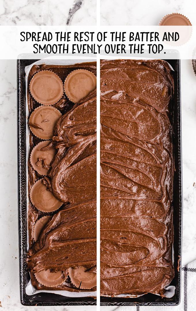 chocolate peanut butter brownies process shot