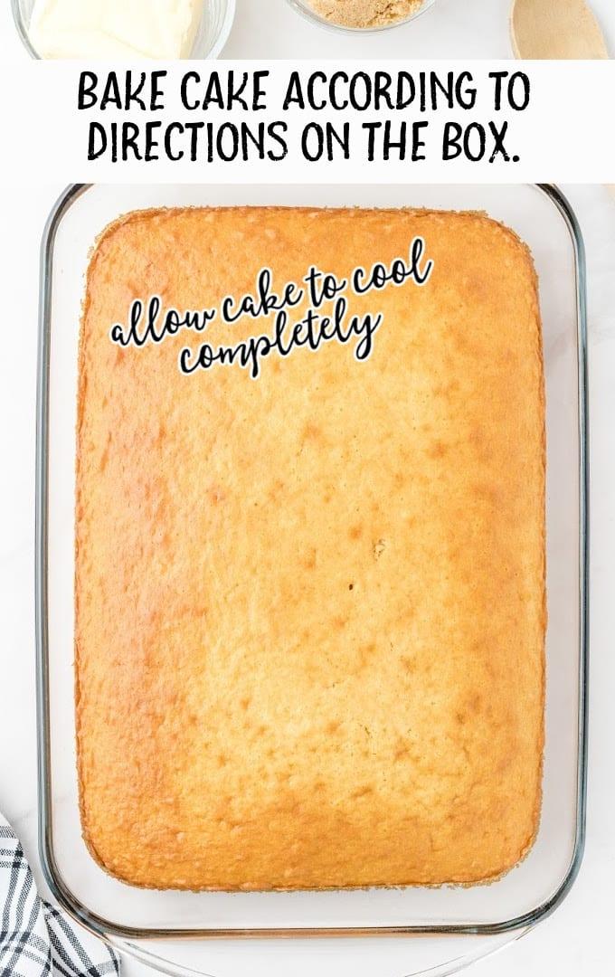 cinnamon roll poke cake process shot of baked cake