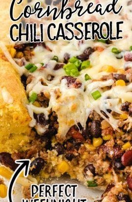 close up shot of cornbread chili casserole in a clear dish