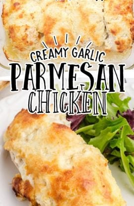 close up shot of creamy garlic parmesan chicken in a clear dish and on a plate