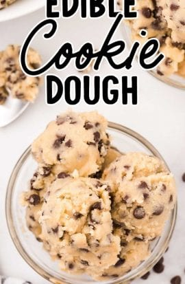 close up overhead shot of scoops of edible cookie dough in a clear cup