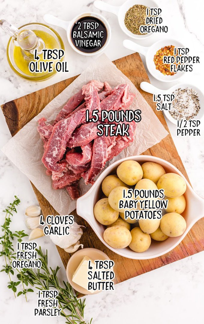 garlic butter steak and potato skillet raw ingredients that are labeled