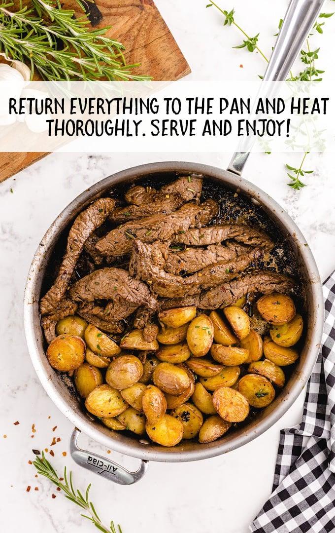 garlic butter steak and potato skillet process shot