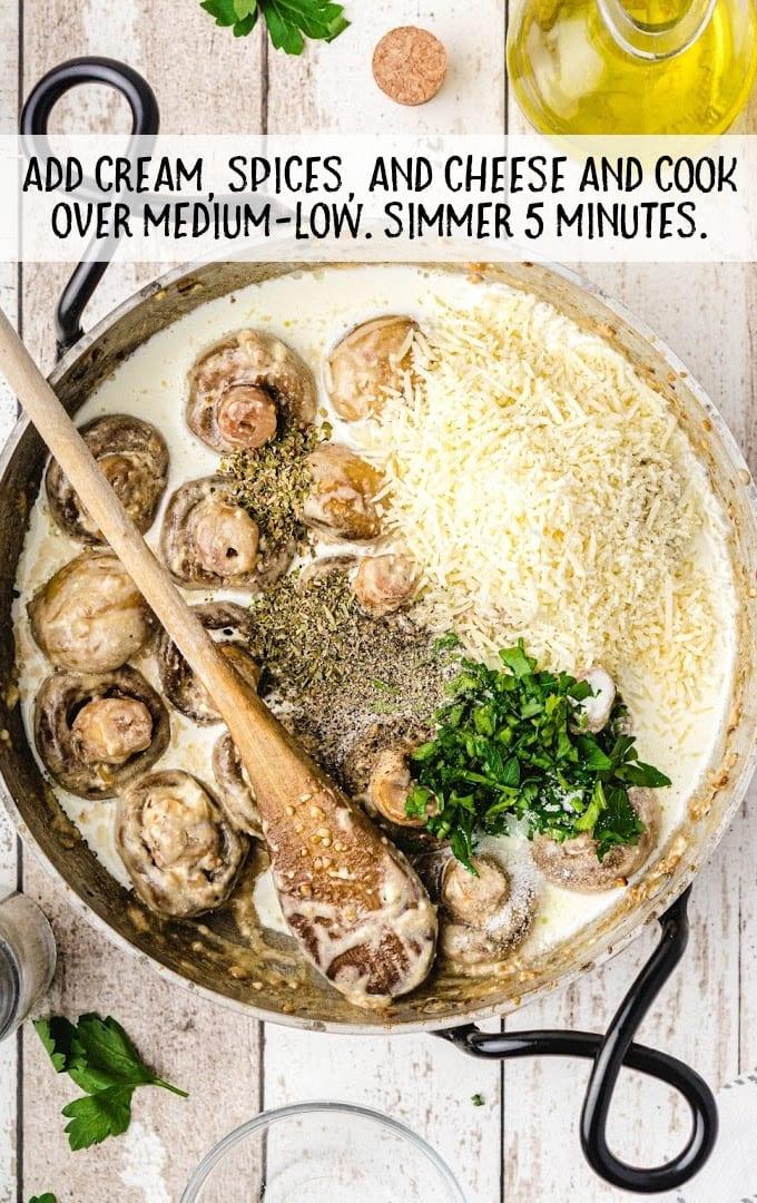 garlic parmesan mushrooms process shot of ingredients being cooked in a pan