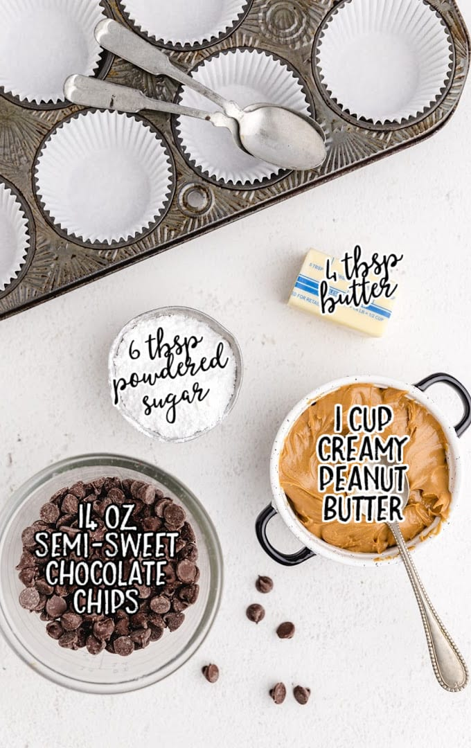 Homemade Peanut Butter Cups raw ingredients that are labeled