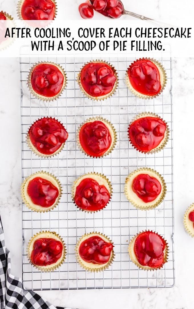 mini cherry cheesecake process shot
