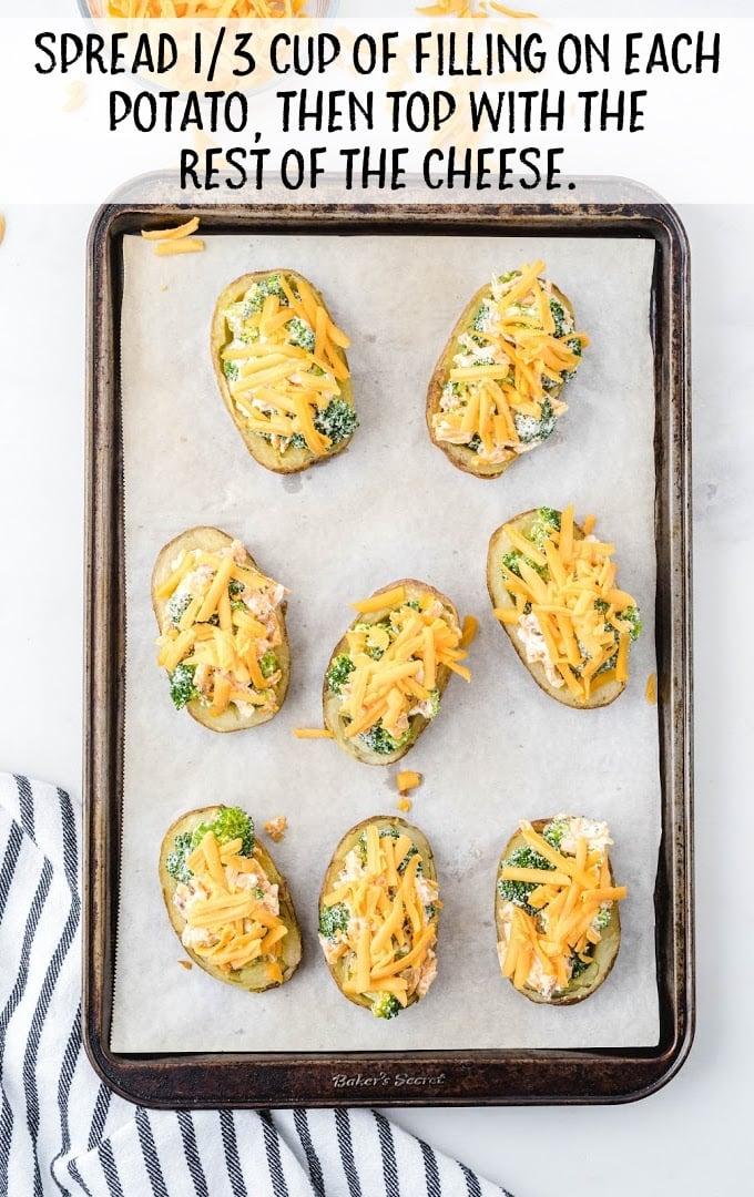 broccoli and cheddar potato skins process shot