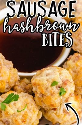 close up shot of hashbrown bites on a white plate with a bowl of syrup