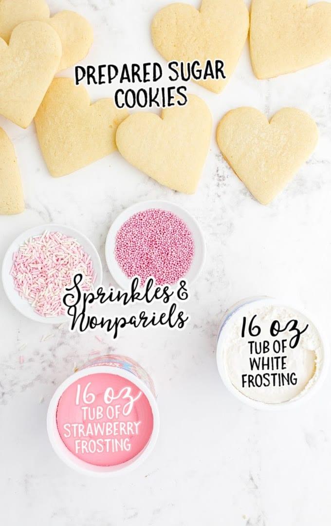 valentine sugar cookies raw ingredients that are labeled