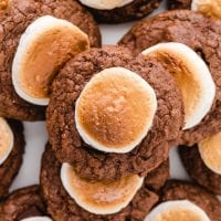 close up overhead shot of hot chocolate cookies stacked on top of each other