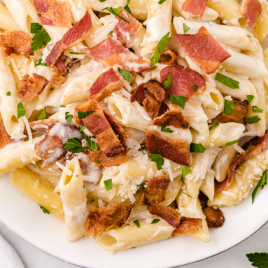close up overhead shot of bacon pasta on a plate