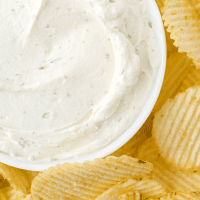 close up shot of chip dip in a dish surrounded by chips