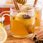 close up shot of hot toddy in a clear jug