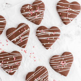 overhead shot of Chocolate Covered Peanut Butter Hearts