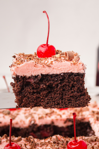 close up shot of cherry Dr Pepper cake