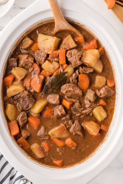 close up shot of beef stew in a crockpot