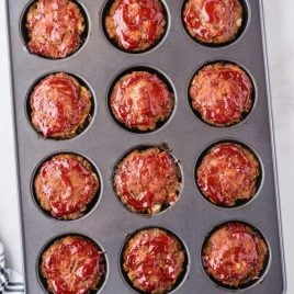 close up overhead shot of muffin pan meatloaf in a muffin pan