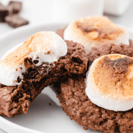 close up shot of hot chocolate cookies being bitten into and stacked on a white plate