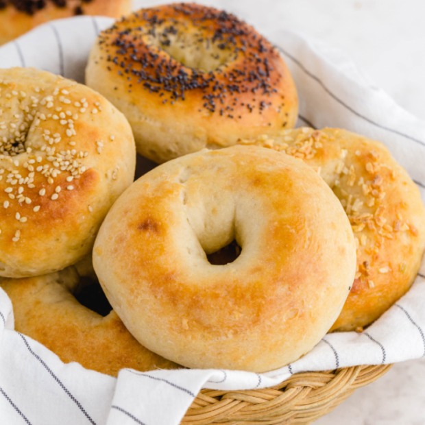 2 ingredient bagels stacked in a basket