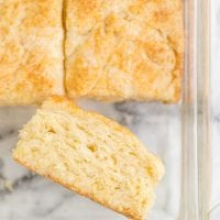 close up overhead shot of 7up biscuits in a pan