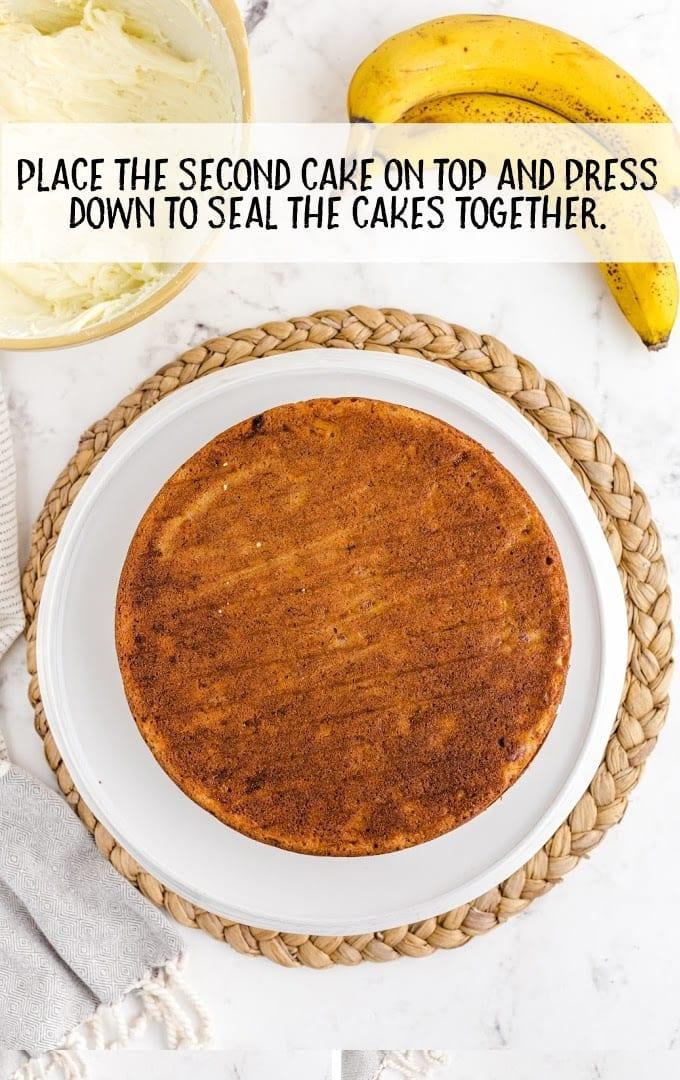 banana cake process shot of cake on plate