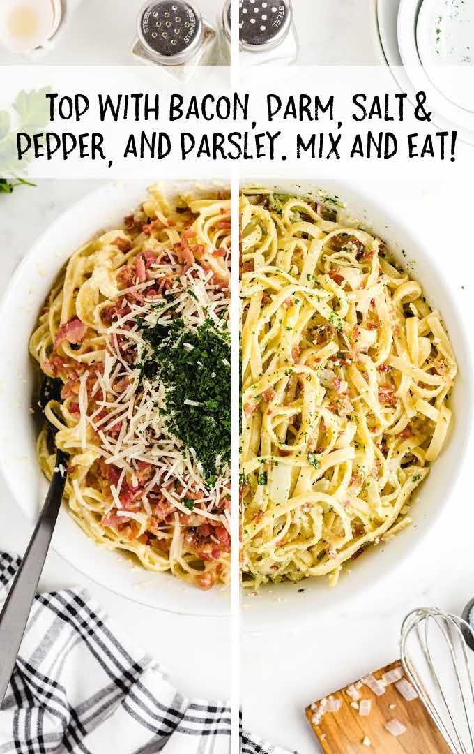 carbonara pasta process shot of ingredients being topped on noodles