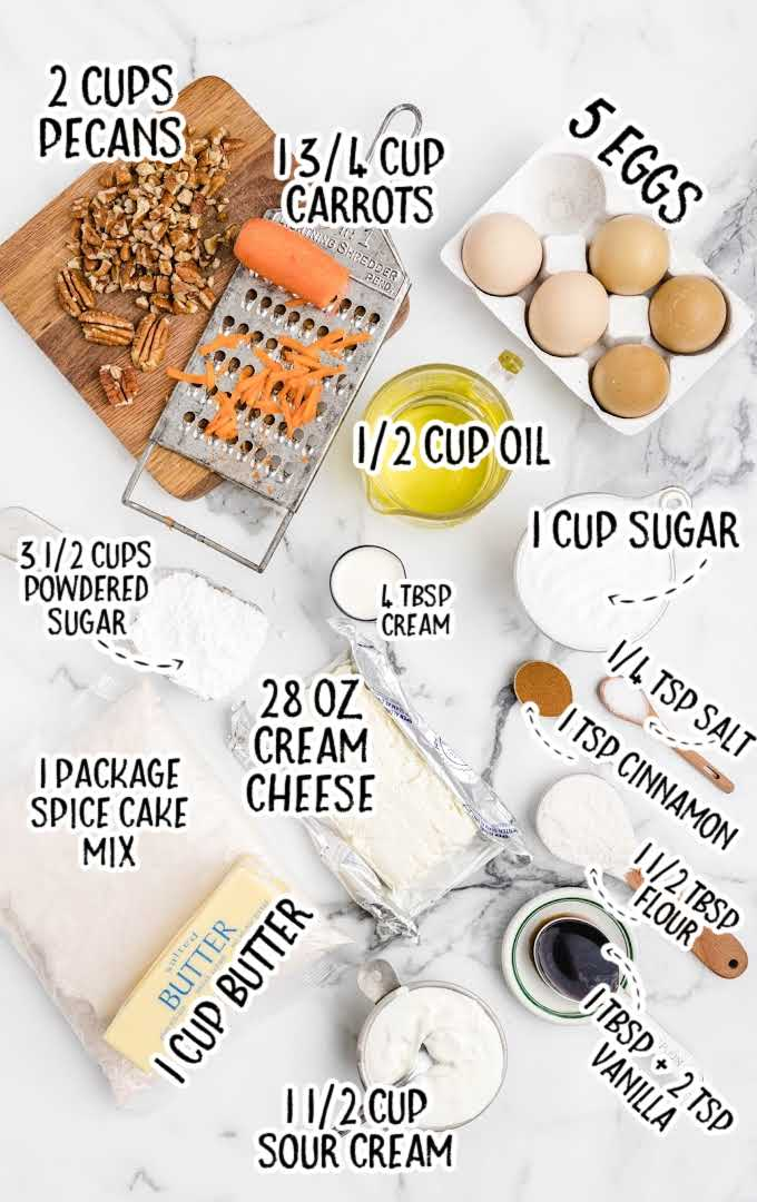 carrot cake cheesecake raw ingredients that are labeled