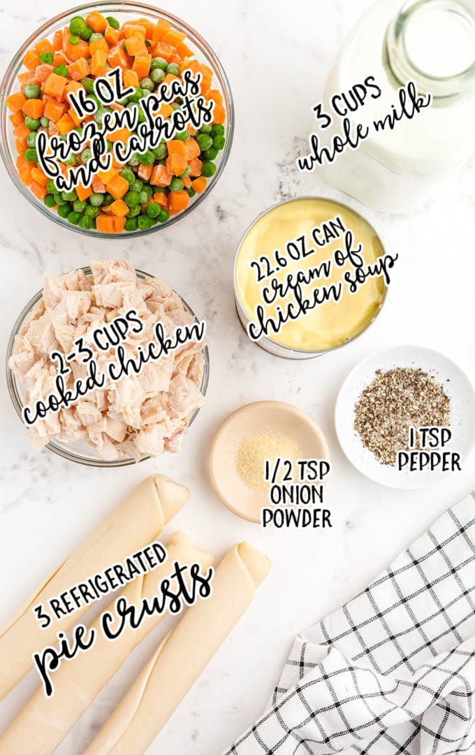 chicken pot pie bake raw ingredients that are labeled