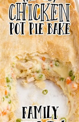 close up overhead shot of chicken pot pie bake in a clear dish