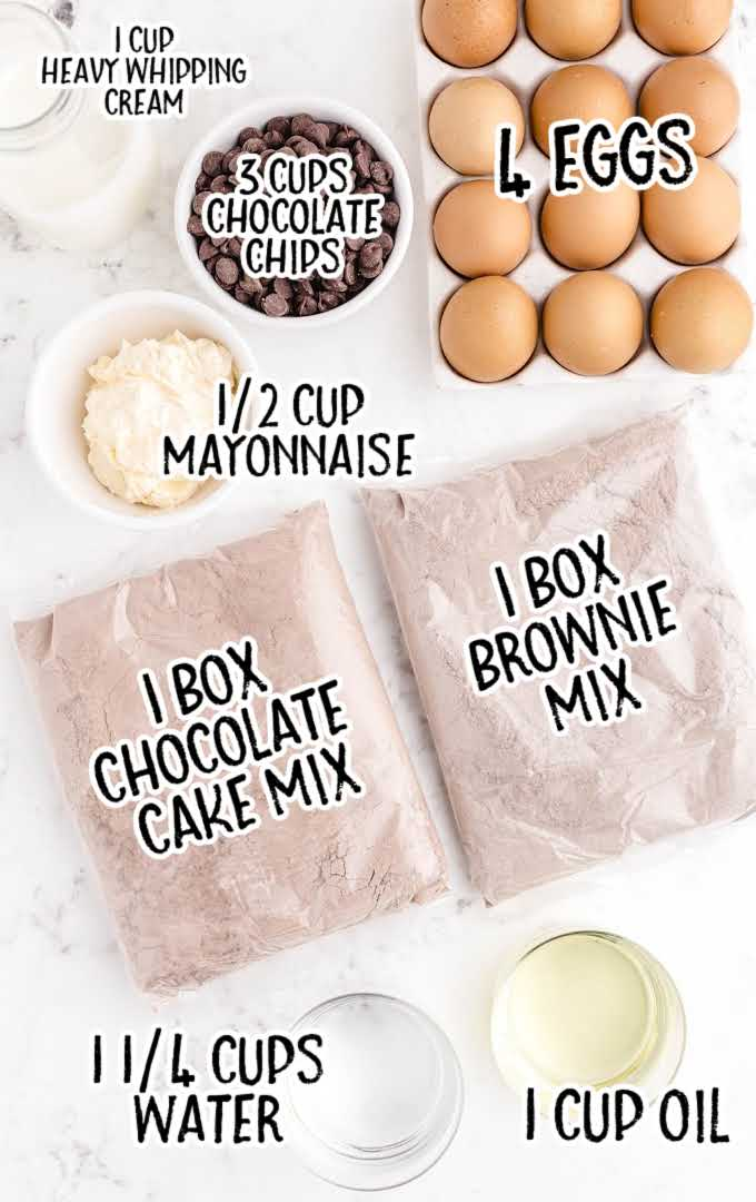 chocolate brownie cake raw ingredients that is labeled