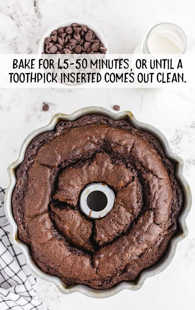 chocolate brownie cake process shot after cake is baked