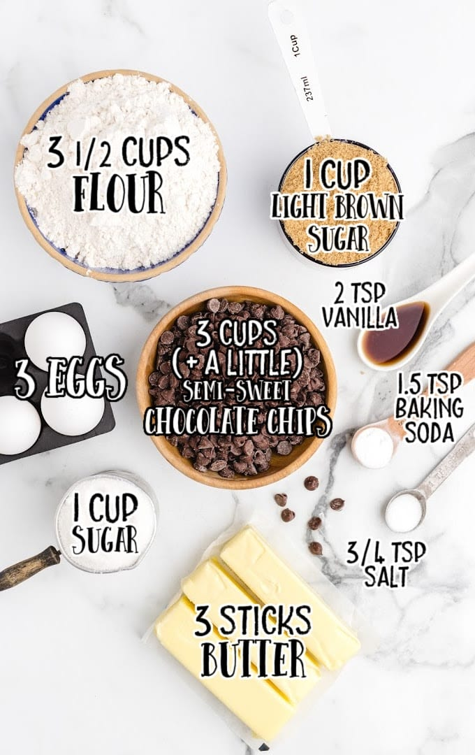 chocolate chip cookie bars raw ingredients that are labeled