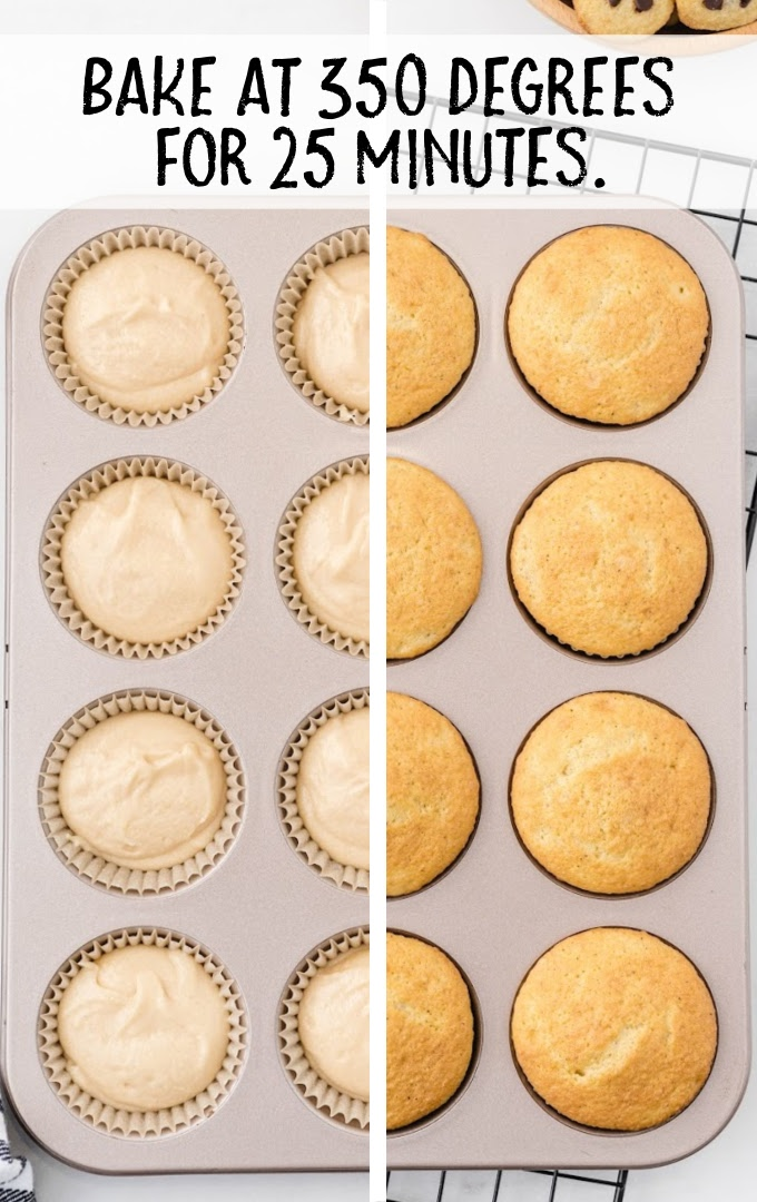 cookie dough cupcakes process shot of before and after cupcakes are baked