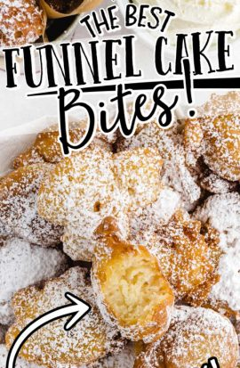 close up overhead shot of funnel cake bites sprinkled with powdered sugar