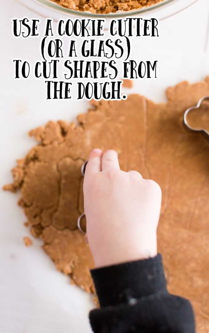 homemade dog treats process shot of bough being cut