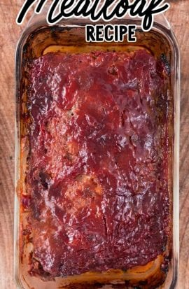 close up overhead shot of meatloaf in a baking dish