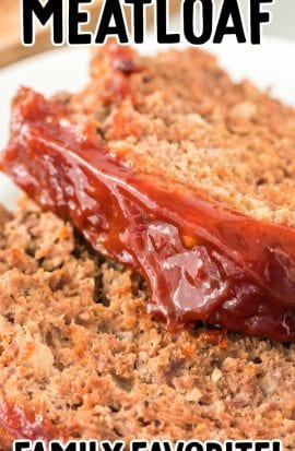 close up shot of slices of meatloaf on a plate