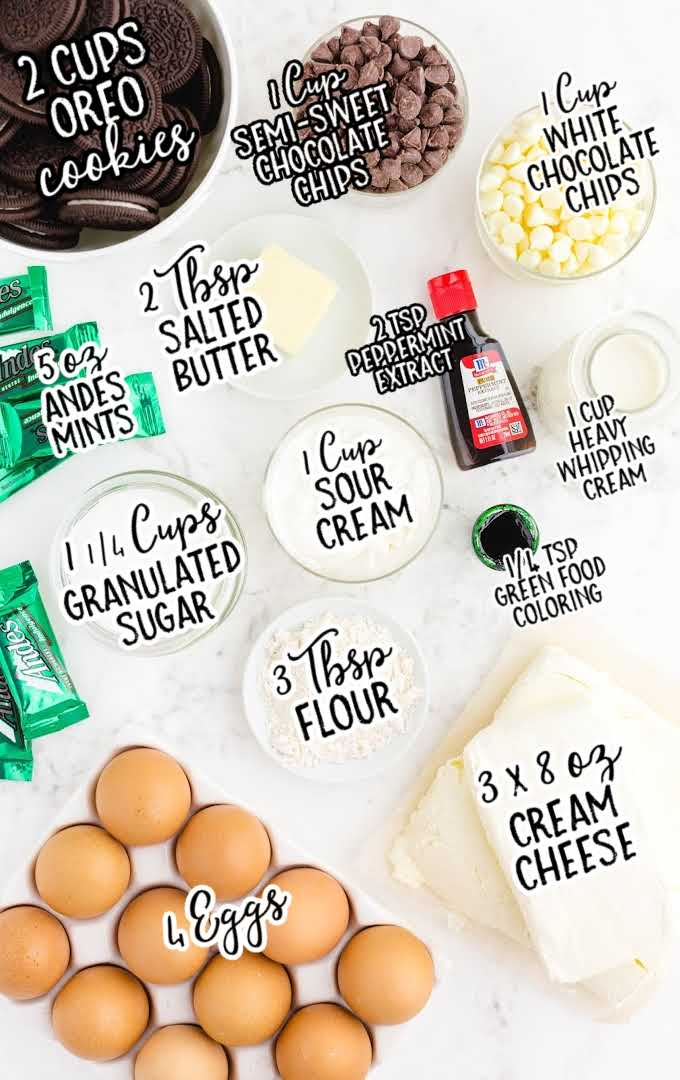 mint chocolate cheesecake raw ingredients that are labeled