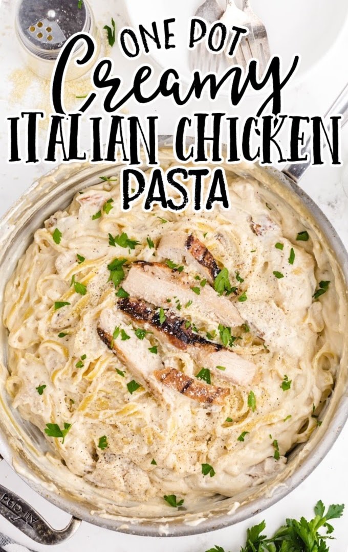overhead shot of creamy Italian chicken with pasta in a dish