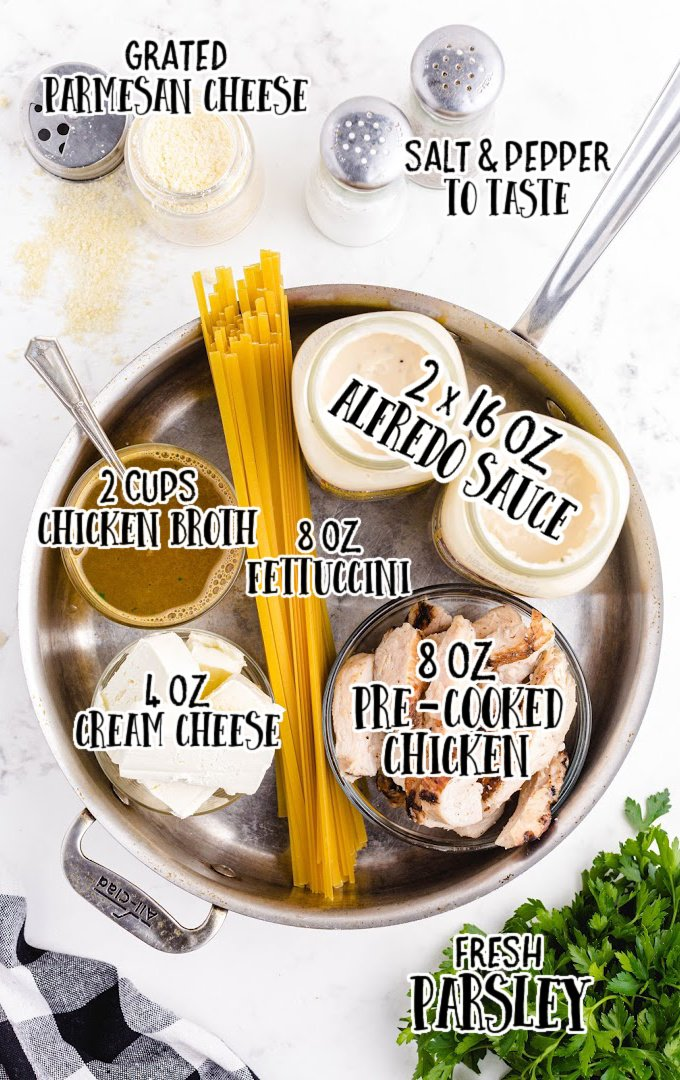 creamy Italian chicken with pasta raw ingredients that is labeled