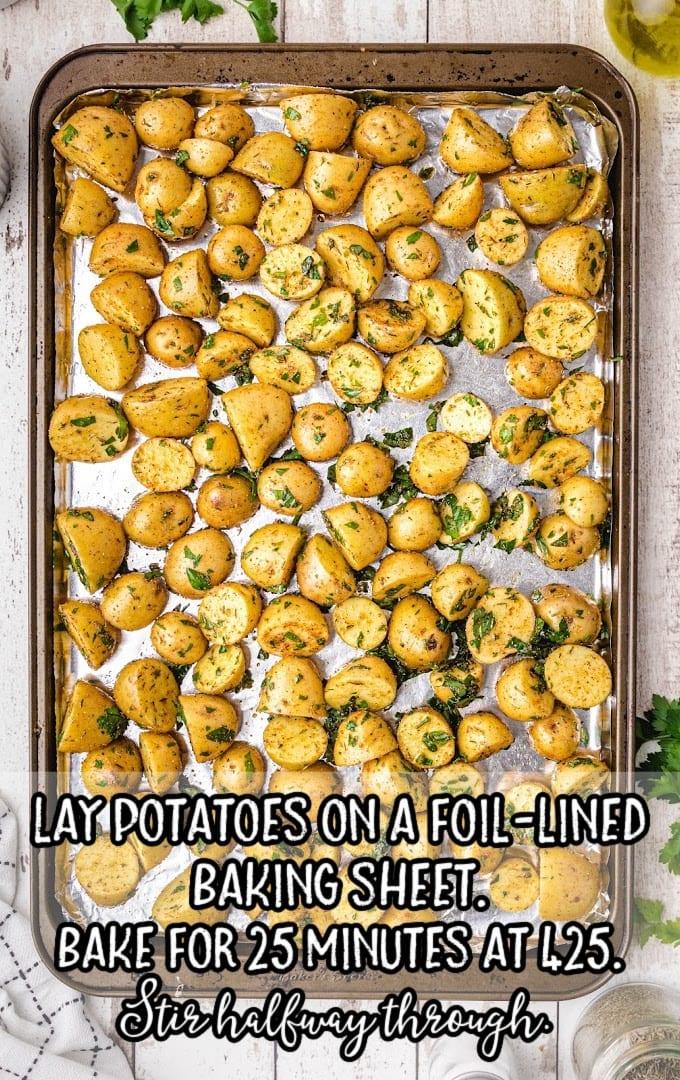 oven roasted potatoes process shot of potatoes on baking sheet