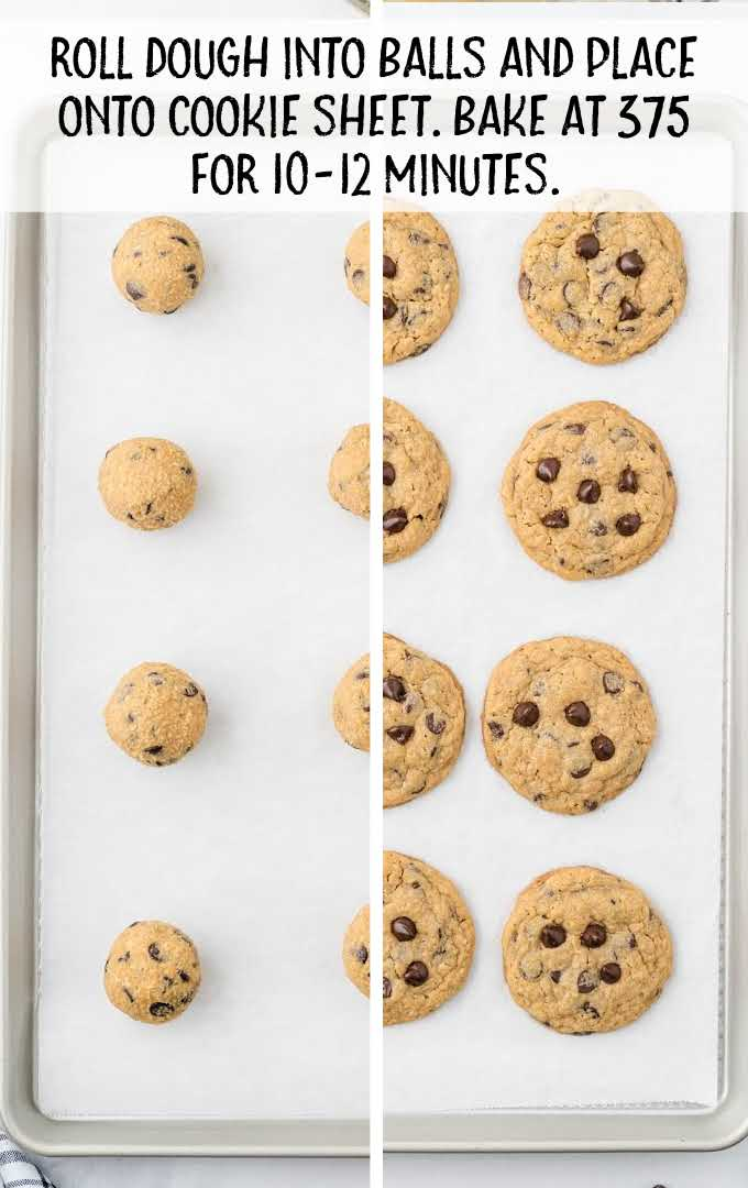 peanut butter oatmeal cookies process shot of cookie dough balls placed on a cookie sheet then after being baked