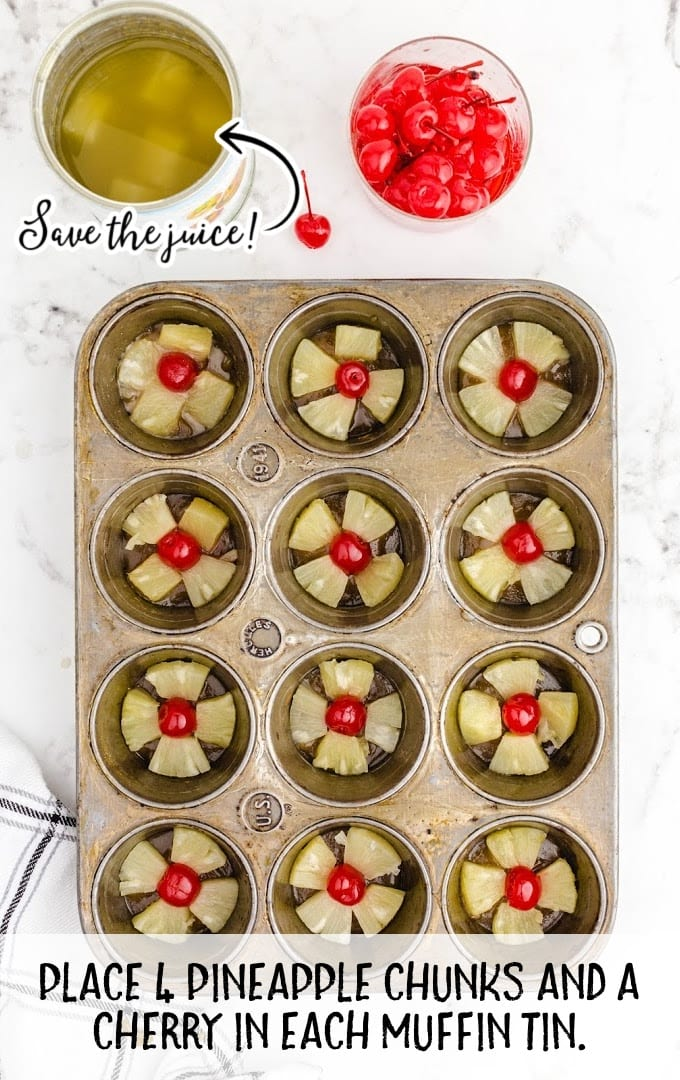 pineapple upside down mini cakes process shot of pineapples and cherries being placed in a muffin tin