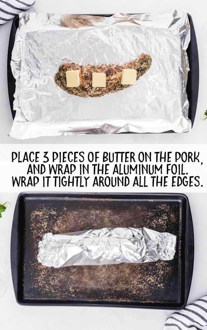 pork tenderloin process shot of pork with butter slices wrapped in aluminum foil