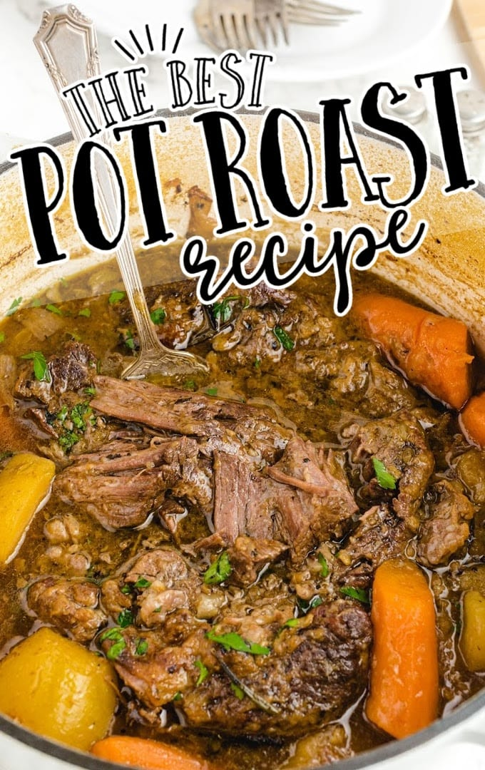 close up side shot of pot roast garnished with parsley