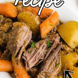 close up shot of a plate of Pot Roast garnished with parsley