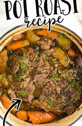 close up overhead shot of pot roast garnished with parsley in a crockpot