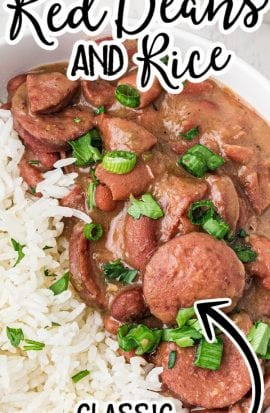 close up shot of red beans and rice garnished with green onions in a white bowl
