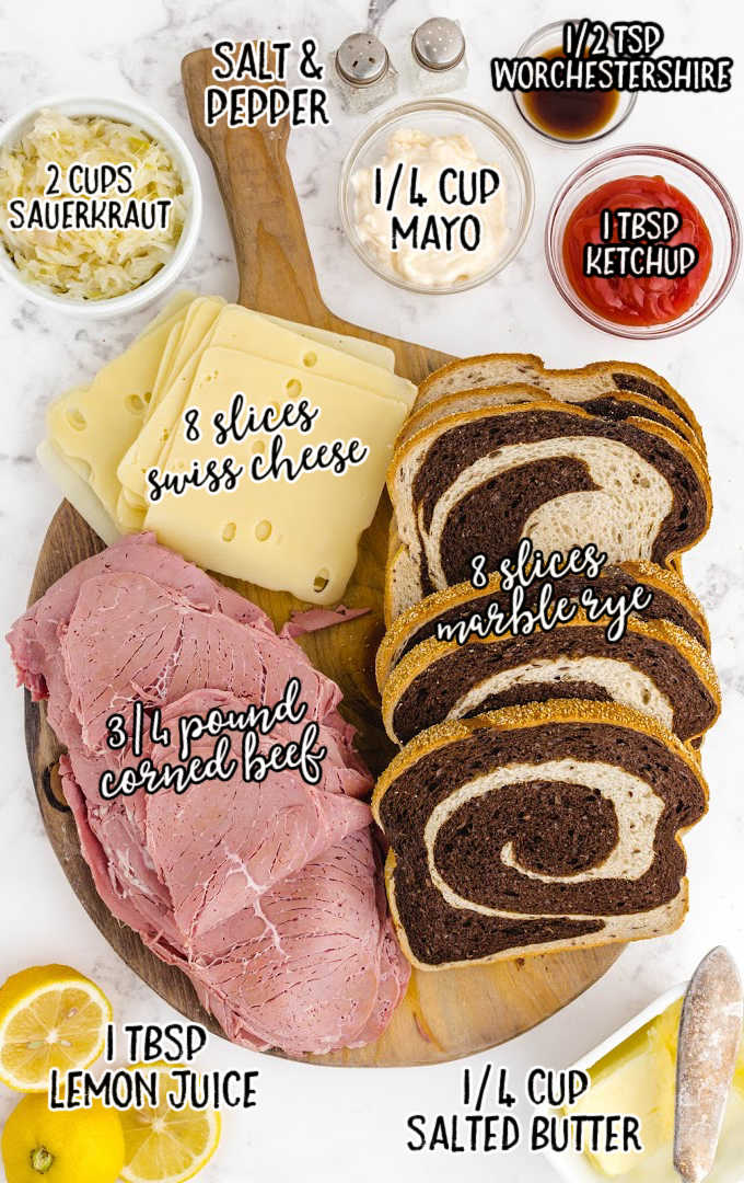 reuben sandwich raw ingredients that are labeled
